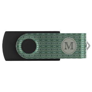 Green Caladium Monogram USB Thumb Drive