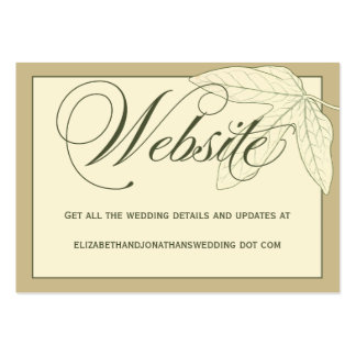 Green Calligraphy Wedding Website Information Card Pack Of Chubby Business Cards
