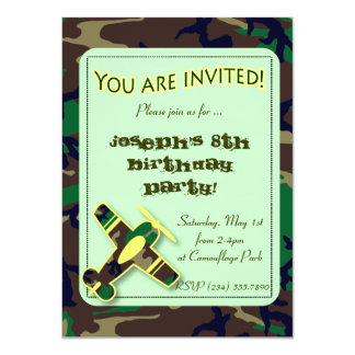 Green Camo Airplane Party Invitation