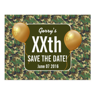 GREEN CAMO and Balloons Any Year Birthday B03G Postcard