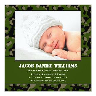 Green Camo Baby Photo Birth Announcement