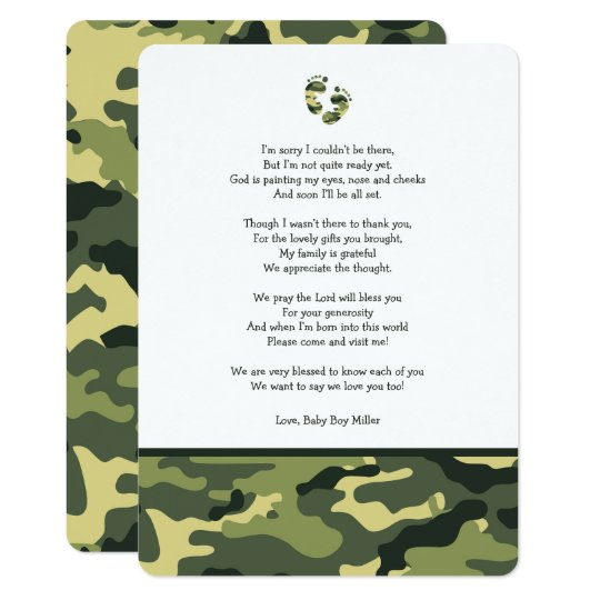 Green Camo baby shower thank you note with