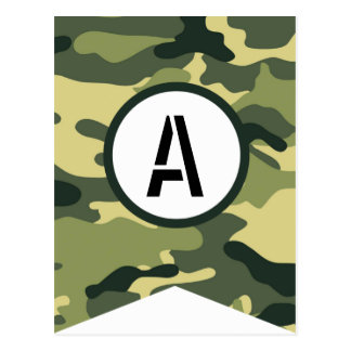 Green Camo Banner Piece ANY LETTER Postcard