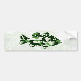 Green Camo Bass Fishing Bumper Sticker