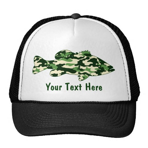 Green camo bass fishing zazzle for Bass fishing hats