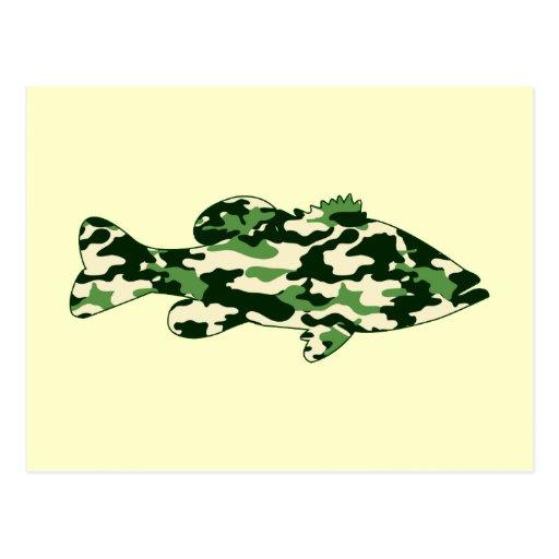 Green Camo Bass Fishing Postcard