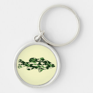 Green Camo Bass Fishing Silver-Colored Round Key Ring