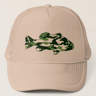 Green Camo Bass Fishing Trucker Hat