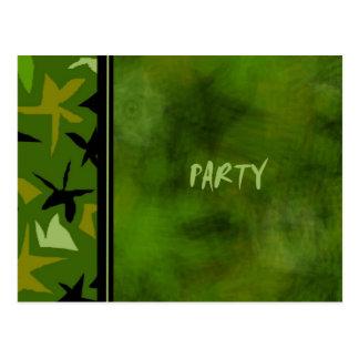 Green Camo Boys Birthday Party Invitation Postcard