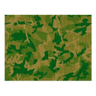 Green Camo Burlap Texture Post Cards