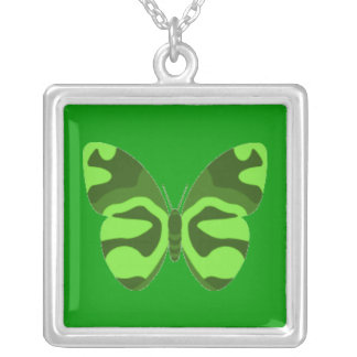 Green Camo Butterfly Square Necklace