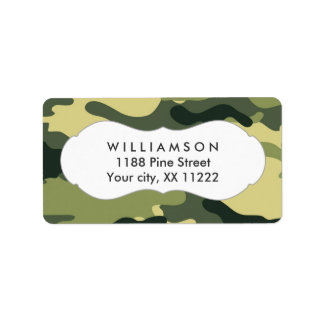 green camo camouflage address labels favor tag