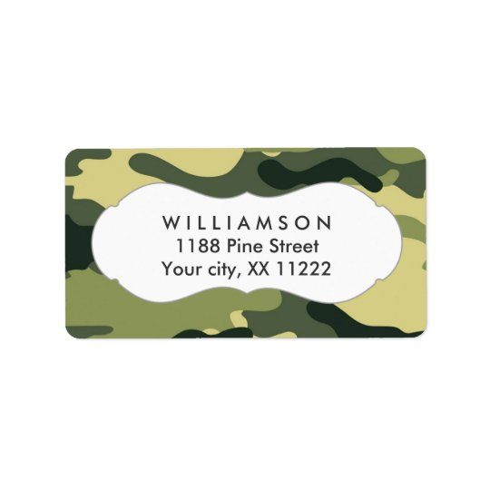 green camo camouflage address labels favour tag