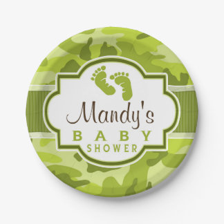 Green Camo, Camouflage Baby Shower Paper Plate