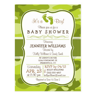 Green Camo, Camouflage Baby Shower Postcard