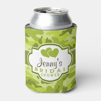 Green Camo, Camouflage Bridal Shower Can Cooler