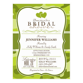 Green Camo, Camouflage Bridal Shower Post Card