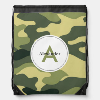 Green camo camouflage monogram book gym school bag