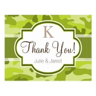 Green Camo, Camouflage Wedding Postcard