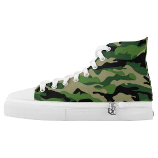 Green Camo Canvas Hi Tops Printed Shoes
