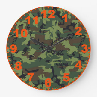 Green Camo Clock With Numbers