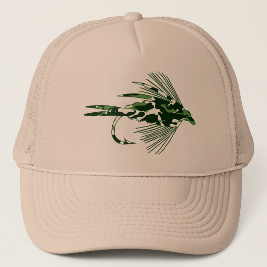 GREEN CAMO FLY FISHING LURE CAP