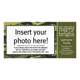 Green Camo Holiday Greeting Card