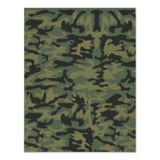 Green camo pattern 11 cm x 14 cm invitation card