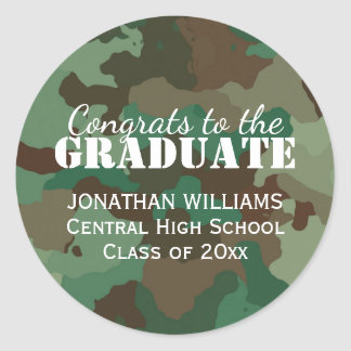 Green Camo Personalized Graduation Sticker