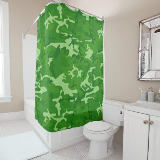Green Camo Shower Curtain