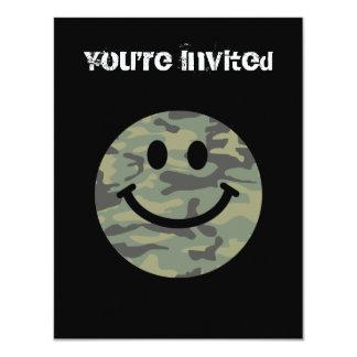 Green Camo Smiley Face 11 Cm X 14 Cm Invitation Card