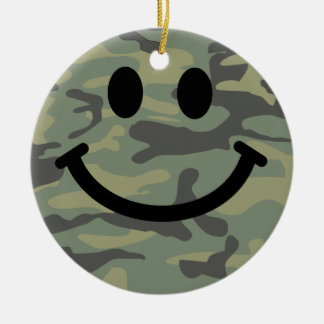 Green Camo Smiley Face Christmas Ornament