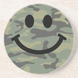 Green Camo Smiley Face Coaster
