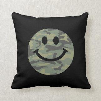 Green Camo Smiley Face Cushion