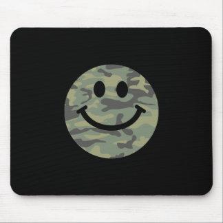 Green Camo Smiley Face Mouse Mat