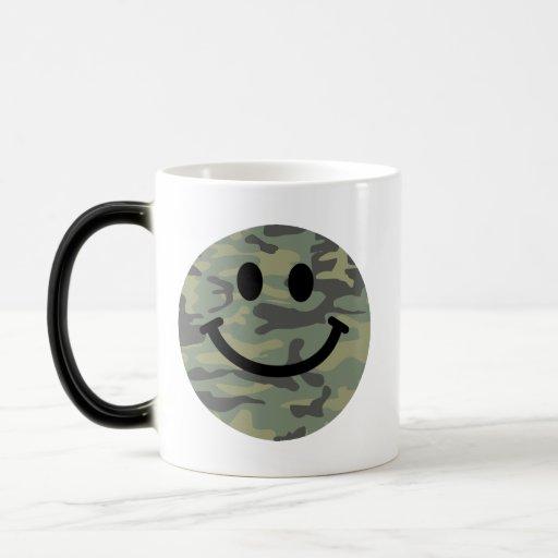 Green Camo Smiley Face Mug