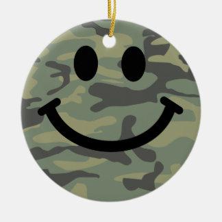 Green Camo Smiley Face Round Ceramic Decoration