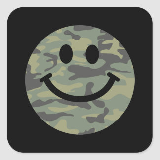 Green Camo Smiley Face Square Sticker