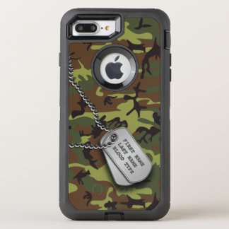 Green Camo w/ Dog Tag OtterBox Defender iPhone 7 Plus Case