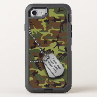 Green Camo w/ Dog Tag OtterBox Defender iPhone 8/7 Case