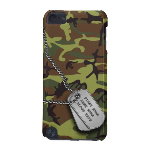 Green Camo w/ Dog Tags iPod Touch 5G Cases
