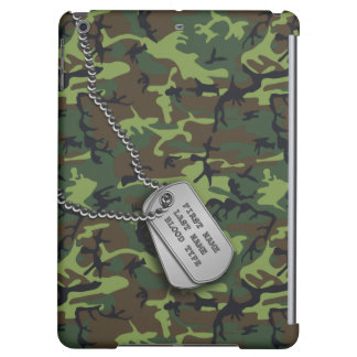Green Camo w/ Dog Tags Cover For iPad Air