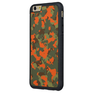Green Camo with Blaze Safety Orange Carved® Maple iPhone 6 Plus Bumper Case