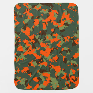 Green Camo with Safety Blaze Orange Baby Blanket