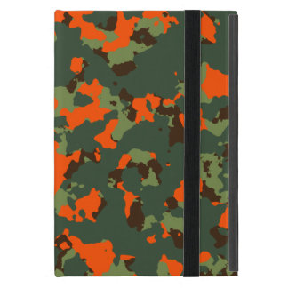 Green Camo with Safety Blaze Orange Case For iPad Mini