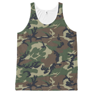 Green Camouflage All-Over Print Tank Top