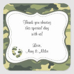 Green Camouflage Baby Shower Favour Label w/feet Square Stickers