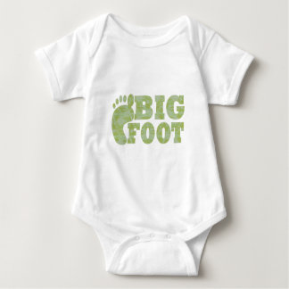 Green camouflage Bigfoot text Baby Bodysuit