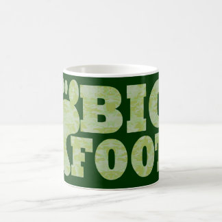 Green camouflage Bigfoot text Coffee Mug