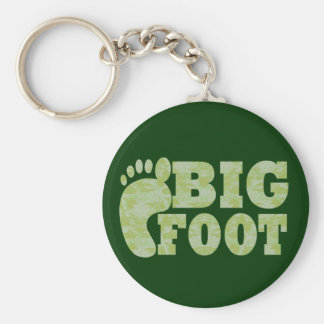 Green camouflage Bigfoot text Key Chain